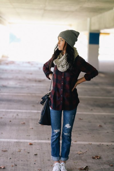 dark red flannel shirt with gray and white polka dot infinity scarf