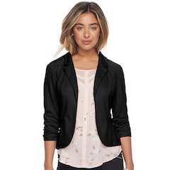 black slim fit blazer with white printed chiffon blouse