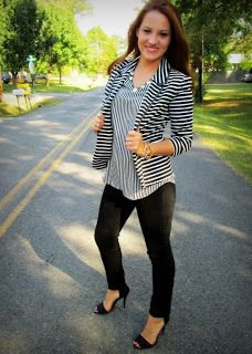 striped blazer with matching blouse and open toe heels