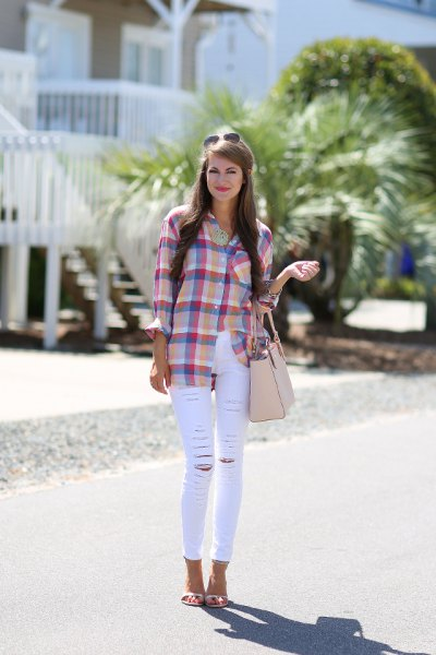 blue and pink checked shirt with thin white jeans