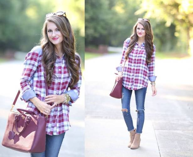 blue and red plaid shirt with torn skinny jeans