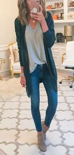 gray tunic t-shirt with V-neck and dark blue longline cardigan