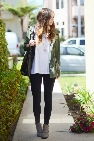 white t-shirt with gray bomber jacket and leggings