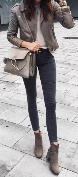 gray leather moto jacket with dark skinny jeans