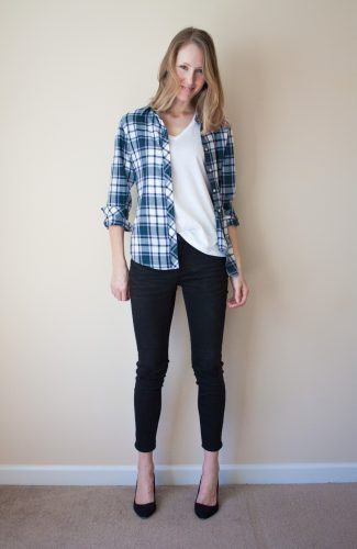 friend's plaid shirt with white scoop neck t-shirt and ballerinas