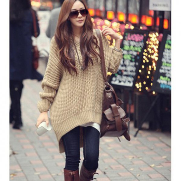 bright camel oversize tunic sweater with dark blue skinny jeans