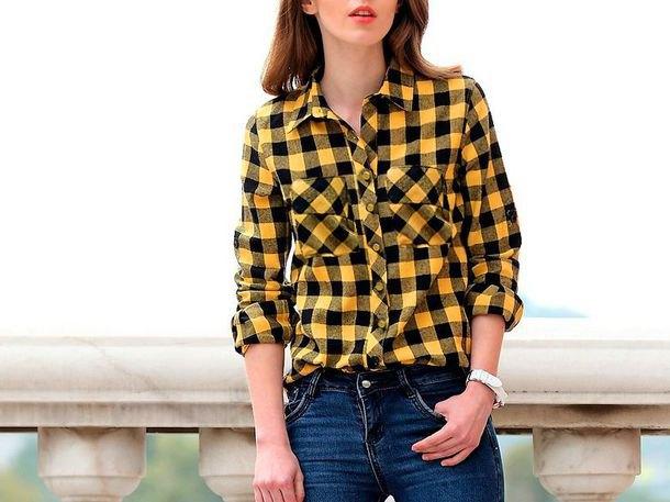 yellow-black checkered shirt with dark blue skinny jeans