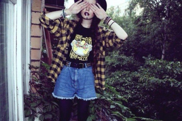 Light yellow and black checked shirt with flowing denim shorts