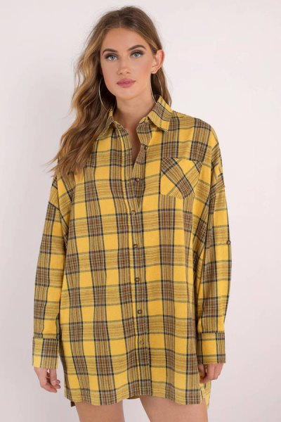 black and yellow checkered shirt dress with buttons and mini shorts