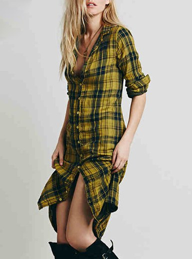Slim fit midi length yellow checkered shirt dress with long boots