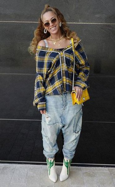 off shoulder yellow checked shirt with boyfriend jeans