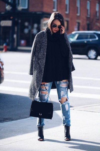 gray long tweed blazer with destroyed blue jeans and leather peep toe boots