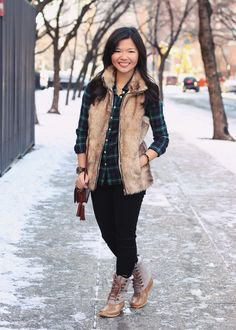 Rouge fleece vest with green checked boyfriend shirt