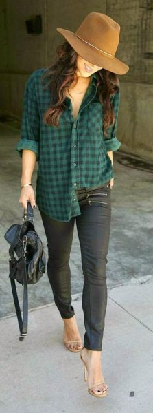 green check boyfriend shirt with open toe heels
