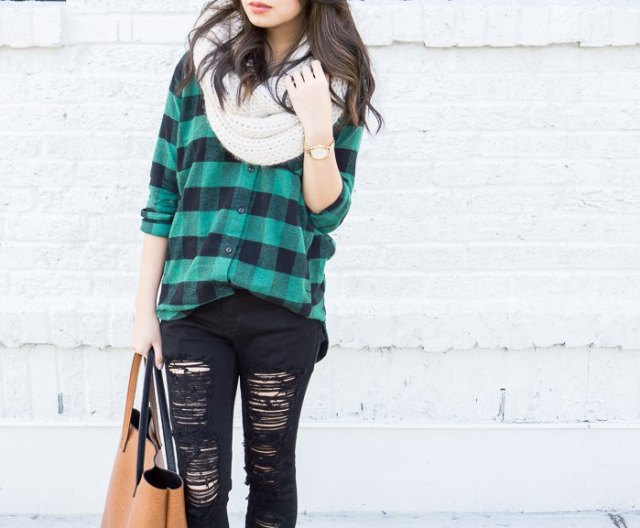 gray-green checked boyfriend shirt with destroyed black jeans