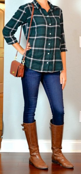 green checked shirt with blue skinny jeans and brown leather boots