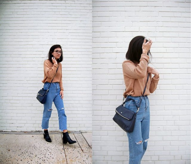 Light brown rib sweater with mom jeans