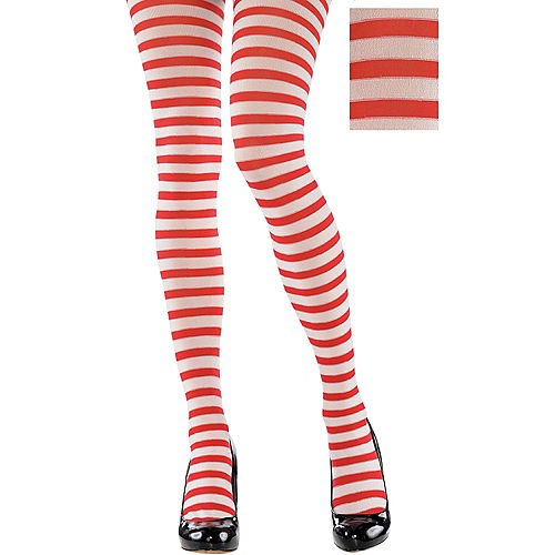 red and white horizontally striped leggings and black leather heels with rounded toes
