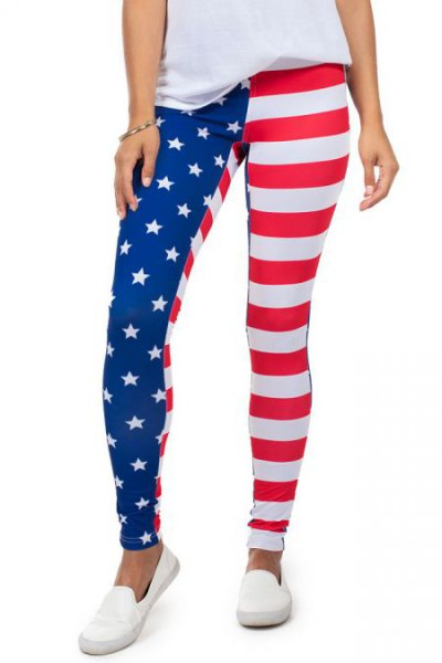 white T-shirt with American flag leggings and slip-on canvas shoes