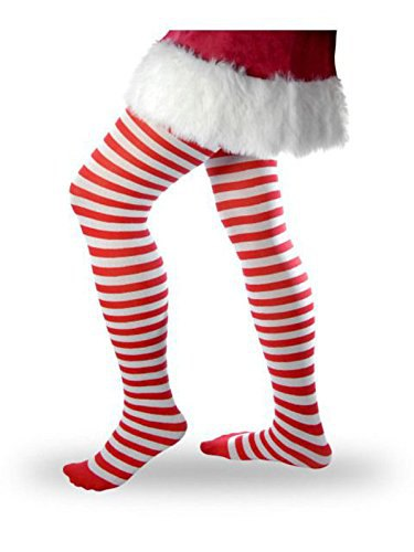 Santa Claus mini shift dress with red and white striped leggings