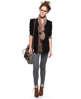 black blazer with gray t-shirt and knitted scarf