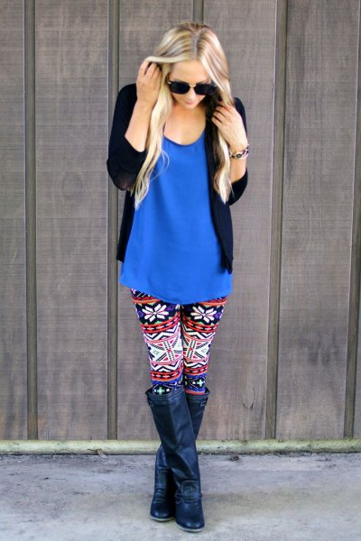 royal blue tank top with leggings patterned for Christmas