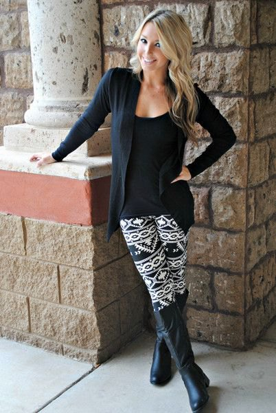 Cardigan with a scoop t-shirt and black and white leggings with a tribal pattern