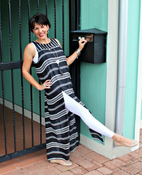 black and white striped maxi high-split dress with leggings
