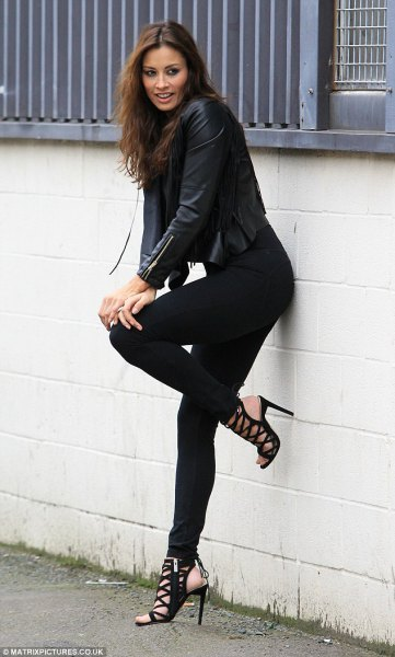 black leather jacket with leggings and open strappy heels