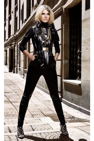 Leather vest with long-sleeved t-shirt and leggings