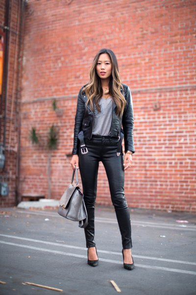 black slim fit moto jacket with gray t-shirt and leggings