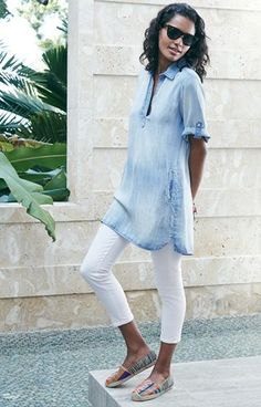 light blue chambray short sleeve tunic polo shirt with white leggings