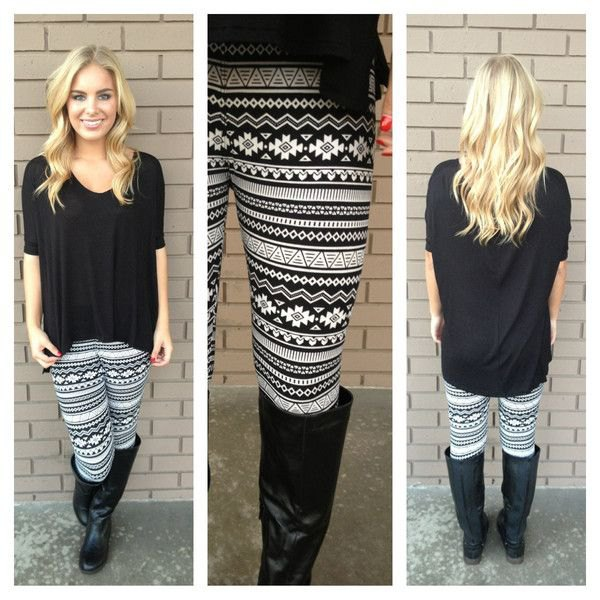 black tunic blouse with half sleeves and leggings with tribal print