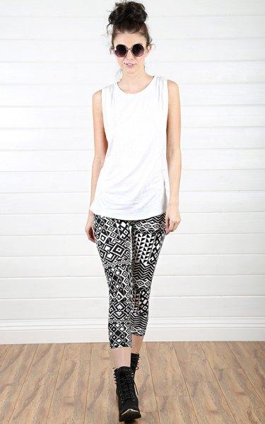 white tank top with black tribal print leggings