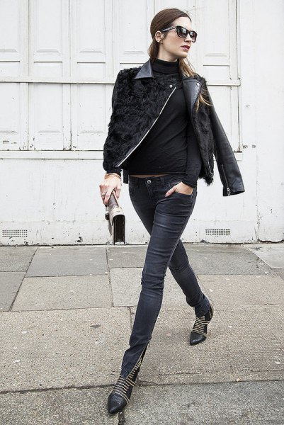 Leather moto jacket with mock-neck sweater and boots with zip