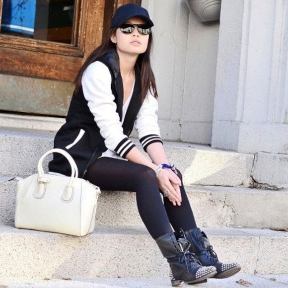 black and white baseball jacket with tunic t-shirt and combat boots with rivets