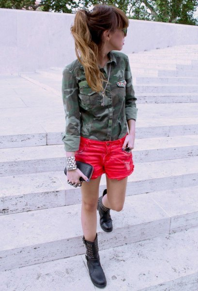 Camo military shirt with orange mini denim shorts