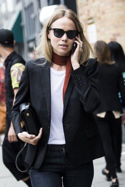 black blazer with white t-shirt and narrow choker scarf