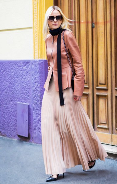 Rouge pink leather jacket with rose gold tone maxi pleated skirt
