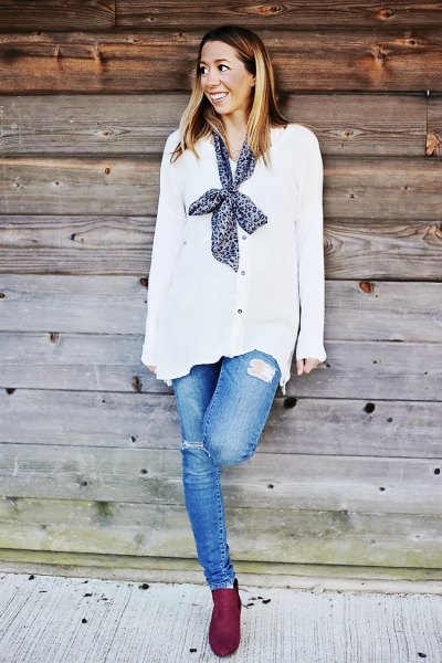 white chiffon cardigan with buttons and narrow silk scarf on the back