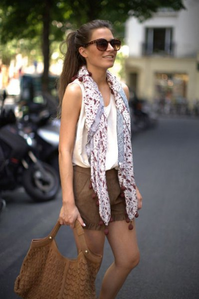 black and white printed chiffon summer scarf with tank top and shorts