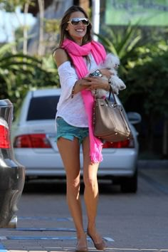 white cold shoulder t-shirt and light pink scarf with denim shorts
