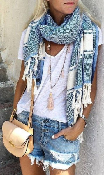 gray and white striped summer scarf with white V-neck t-shirt and denim shorts