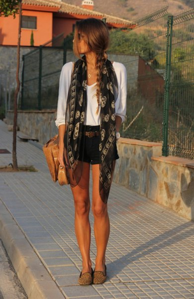 black-gray tribal printed silk scarf with white t-shirt