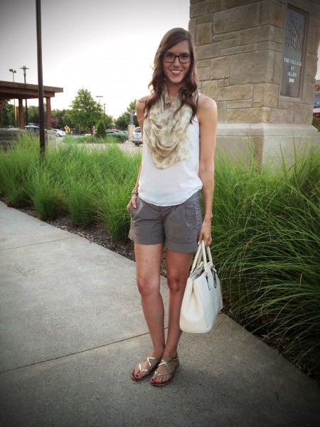 white tank top with blushing pink infinity summer scarf