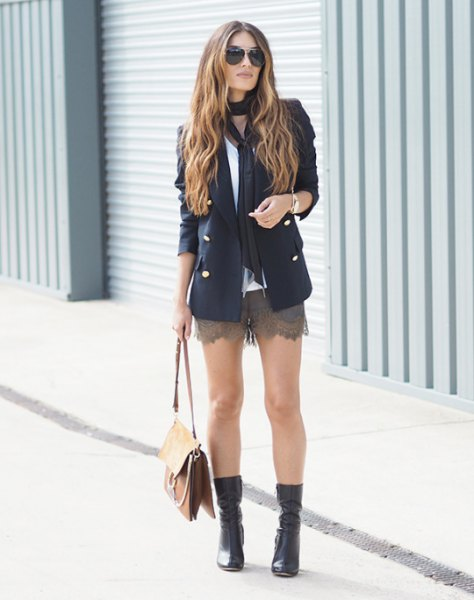 black blazer with gray mini shorts with scalloped hem