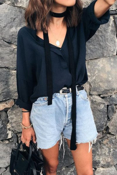 black chiffon blouse with V-neck and thin summer scarf