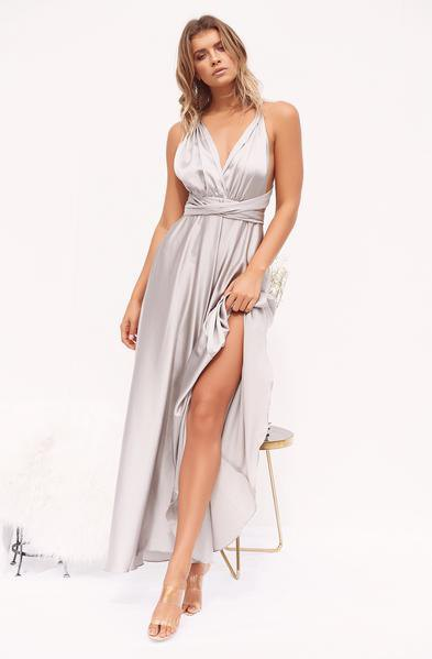Silver deep v neck tie waist maxi high split satin dress