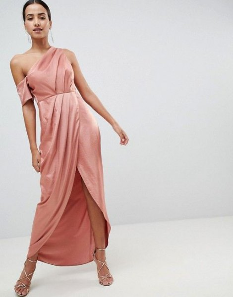 Pink One Shoulder Ruched Waist High Low Satin Dress