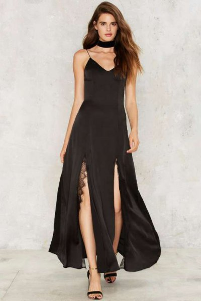 black choker with double slit maxi satin dress with spaghetti strap